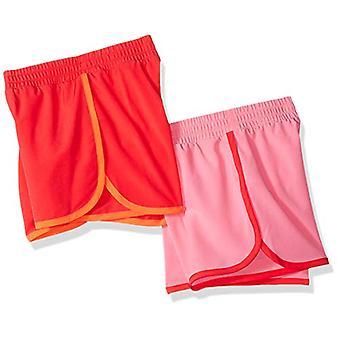 Essentials Little Girls' 2-Pack Active Running Short, Pink/Coral, X-Sm...