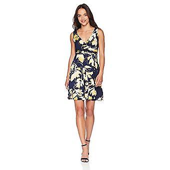 Tiana B Women's Petite Printed Faux wrap Dress, Navy, 14P