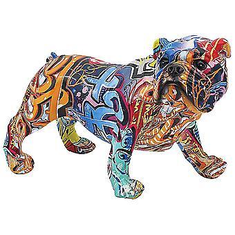 Graffiti Art Bulldog Figurine Ornament Decor 28cm