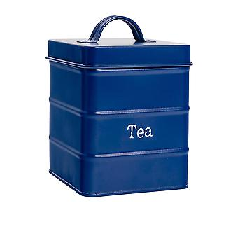 Industrial Tea Canister - Vintage Style Steel Kitchen Storage Caddy with Lid - Navy