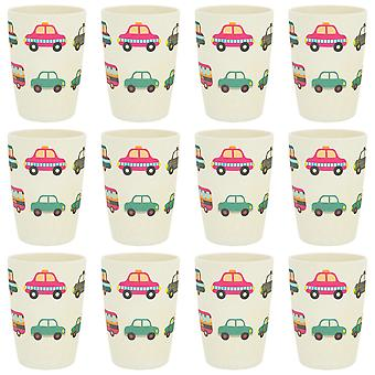 Tiny Dining Children's Bamboo Fibre Juice Cup - Voitures - Pack de 12