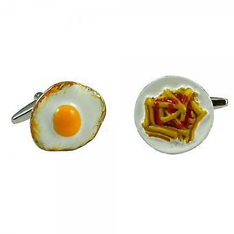Ties Planet 3d Egg & Chips Novelty Cufflinks