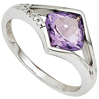 Women's Ring 585 Gold White Gold 3 Diamonds Brilliant 1 Amethyst Purple Violet