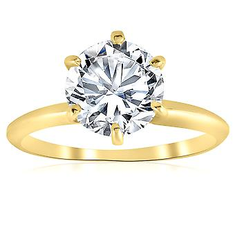 2ct Solitaire Moissanite Engagement Ring Round Brilliant 14k Yellow Gold