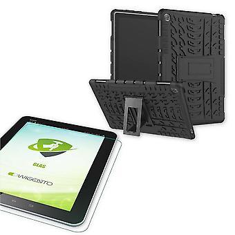 עבור Huawei MediaPad M5 Lite 10.1 אינטש היברידי בחוץ מקרה מגן במקרה שחור + 0.4 H9 זכוכית מגן