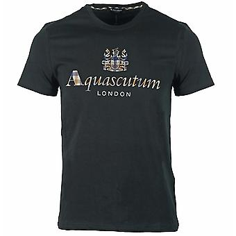 Aquascutum Signature Check Logo Black T-Shirt