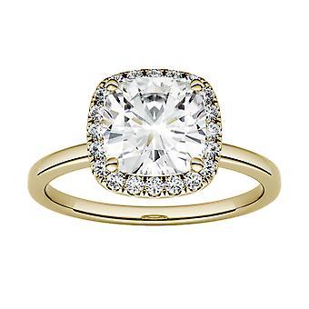 14K Yellow Gold Moissanite-tekijä Charles & Colvard 6,5mm tyyny Halo Engagement Ring, 1.43cttw DEW