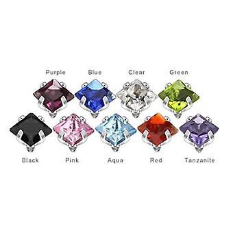 Dermal piercing tops - 9 or 18 piece prong set square gem internally threaded