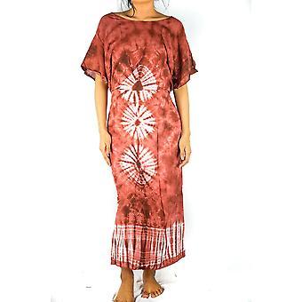tie fargestoff maxi kjole boho kaftan hippie kjole