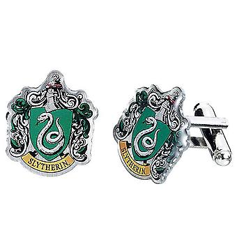 Harry Potter Silver Plated Slytherin Crest Cufflinks