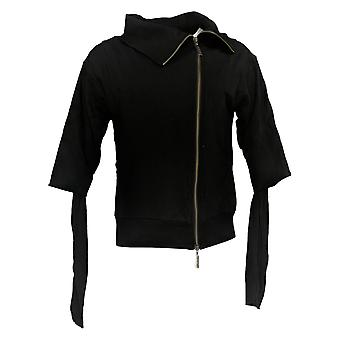 Peace Love World Women's Sweater Asymmetric Zipper Front Black A301624