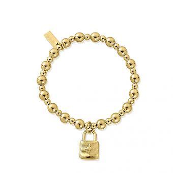 ChloBo Guld Mini Lille kugle hængelås GBMSB3096