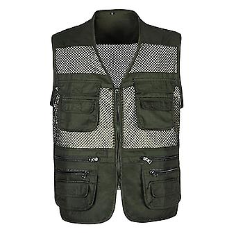 Multi-pocket Classic Waistcoat Sleeveless Unloading Solid Coat Mesh Vest Jacket