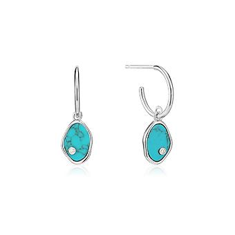 Ania Haie Rhodium Tidal Turquoise Mini Hoop Earrings E027-01H