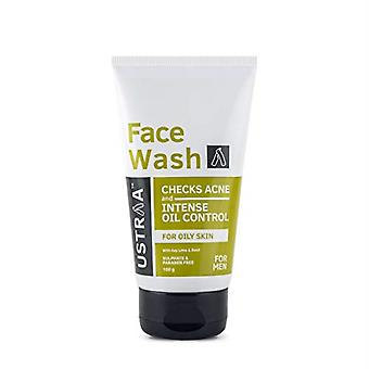 Ustraa Face Wash - for Oily skin - 3.52 oz - Especially for Oily skin, For acne-prone skin, No Sulphate No Paraben, Checks acne and blackheads