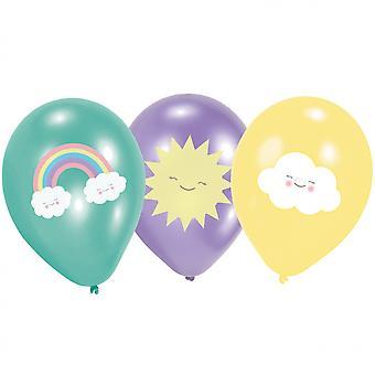 Balloons Rainbow & Amp; Cloud 27.5 Cm Latex 6 Pieces