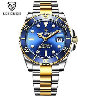 Watch Men, Automatic Mechanical, Tourbillon Clock, Sapphire Glass, Steel,