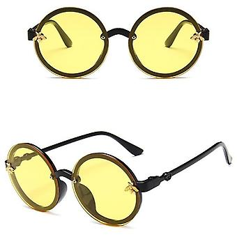 Cute Round Little Bee Uv400 Plastic Sport Sun Glasses