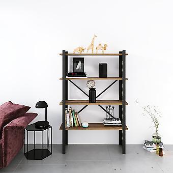 Love Black Bookcase, Metaalhout, Melamine Spaanplaat, L90xP35xA150 cm, L82xP29xA34,5 cm