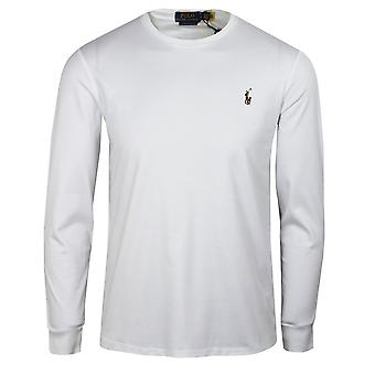Ralph lauren men's white pima long sleeve t-shirt