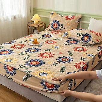 Universal Mattress Cover Crystal Velvet Thicken Warm Quilted Cotton Bed Sheets