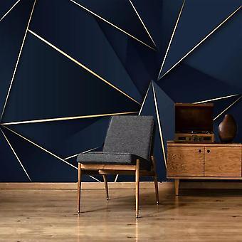 Light Luxury, Abstract Golden Lines, Blue 3d Wallpaper For Living Room,