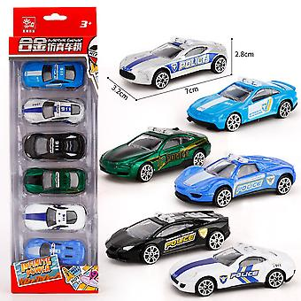 6pcs Children's Mini Police Car Toy Engineering Car Model Slide Toy Car Alloy Educational Boy's Toy