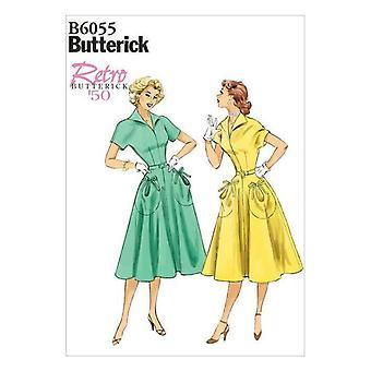 Butterick ompelu kuvio 6055 Misses Naisten Patch-Pocket Mekko 6-14 UC Vintage