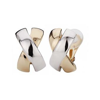 Traveller Clip Earrings 2-tone X-shape - 138057 - 410