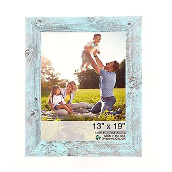 "13"" x 19"" Rustic Farmhouse Light Aqua Blue Wood Frame"