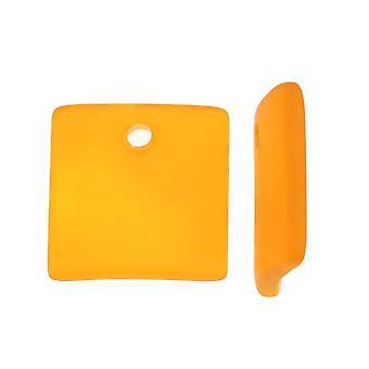 Odlat havsglas, böjda fyrkantiga hängen 22x22mm, 2 stycken, bärnsten