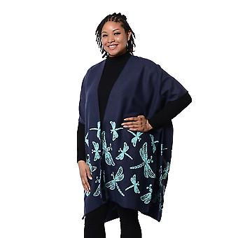 Navy Kimono with Light Blue Drangonfly Embroidered Size 90x95cm