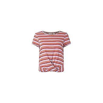 O'NEILL LW Leona Stripe Camiseta de manga corta para mujer, Femenil, 0A7302, Multicolor, Marrón, Rojo (Marrón AOP W/Rojo), L