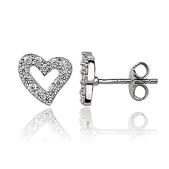 Eye Candy - Women's earrings, sterling 925 rhodium-shaped silver heart earrings with 13 9.2 mm ECJ Ref white stones. 4045425024305