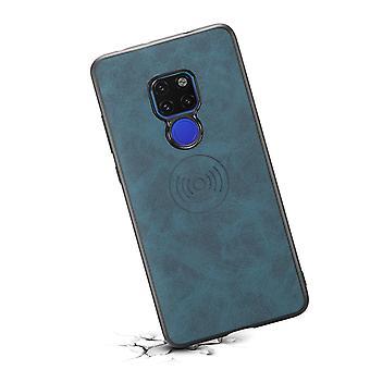 حقيبة جلدية مع فتحة بطاقة محفظة ل Huawei mate20 باللون الأزرق الرجعي