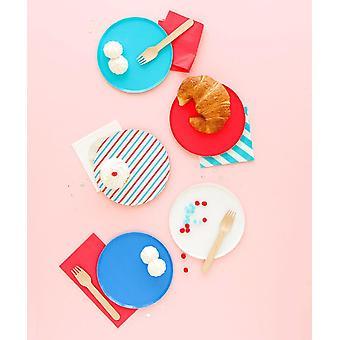 Oh Happy Day Cherry & Sky Stripes Plates (pieni)