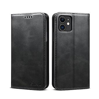 Portefeuille étui en cuir fente pour carte pour iphone 11 noir pc231