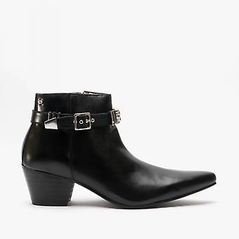 Club Cubano Pavel Mens Leather Winklepicker Cuban Heel Boots Black