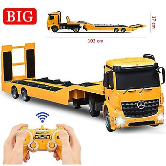 RC Tow Truck Detachable Flatbed Semi Trailer Electronics Toy with Sound and Lights|RC Trucks(Yellow)