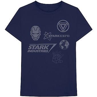 Marvel Comics - Iron Man Stark Expo Heren X-Large T-Shirt - Navy Blue