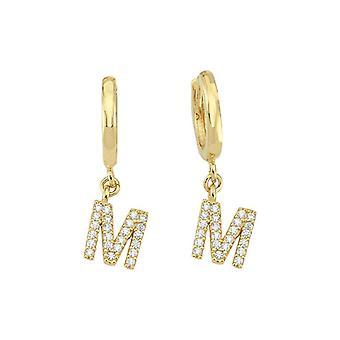 Letter M Gold Eaaring