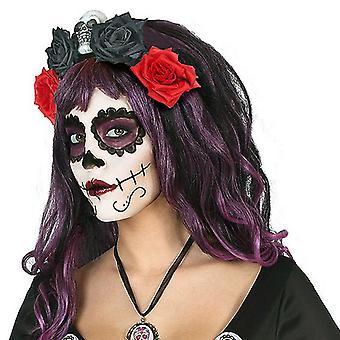 Headband Skull Black Red