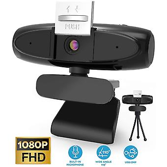 HD 1080P Webcam with Microphone, Streaming Computer Webcam with Support 3D Denoising, Webcam for PC,