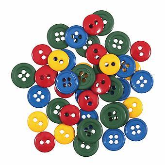 LAST FEW - 125 Mini Plastic Button Fournituren Ambachtelijke Versieringen - Primaire Mix