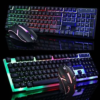 (Black) Gaming Game Keyboard And Mouse Set USB Wired LED Colorful Backlight Universal