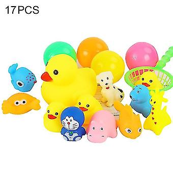 Duck Animal Badelegetøj til baby småbørn, vind op flydende legetøj(17PCS)