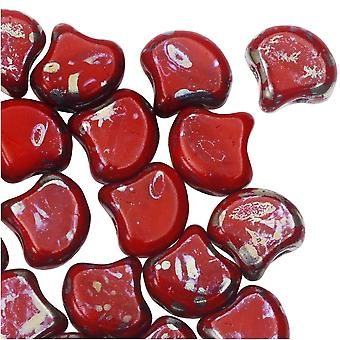 Tšekkiläinen lasi, 2-reikäinen Ginko-läjä 7,5mm, 10 grammaa, läpinäkymätön punainen rembrandt