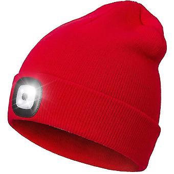 Cappello beanie a led con luci, unisex 4 led Usb ricaricabile faro in maglia tappo faro faro faro