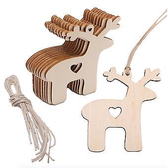 20pcs/lot Laser Engraving Wood Chip 2mm Wooden Craift Christmas Deer Home Ornaments