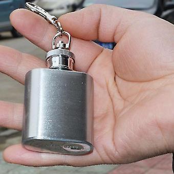 Kannettava 1oz Mini ruostumattomasta teräksestä valmistettu lonkkapullo alkoholilippu avaimenperällä